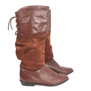 Vintage 1980s Ipanema Tall Leather Suede Boots 10M